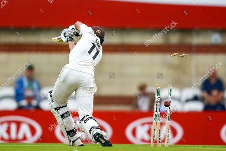Wicket Jamie Smith of Surrey bowled by Craig Miles of Warwickshire during the Specsavers County Champ Div 1 match between Surrey County Cricket Club and Warwickshire County Cricket Club at the Kia Oval, Kennington