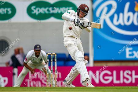 **Caption Correction** Jamie Smith of Surrey of Surrey hits the ball to the boundary for four runs during the Specsavers County Champ Div 1 match between Surrey County Cricket Club and Warwickshire County Cricket Club at the Kia Oval, Kennington