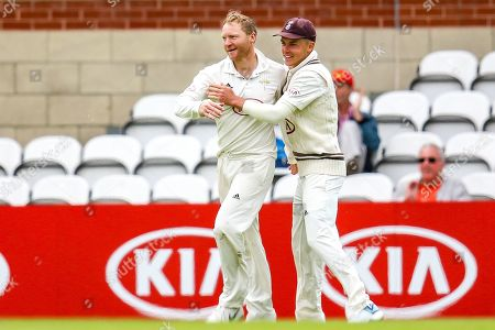 Wicket! Gareth Batty of Surrey celebrates taking the wicket of Oliver Hannon-Dalby of Warwickshire during the Specsavers County Champ Div 1 match between Surrey County Cricket Club and Warwickshire County Cricket Club at the Kia Oval, Kennington