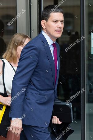 Chief Executive of the International Rescue Committee David Miliband leaves the BBC