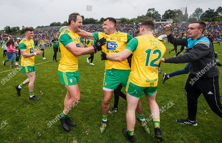 Stock Photo of Cavan vs Donegal. Donegal's Michael Murphy celebrates at the final whistle with Paul Brennan and Jamie Brennan