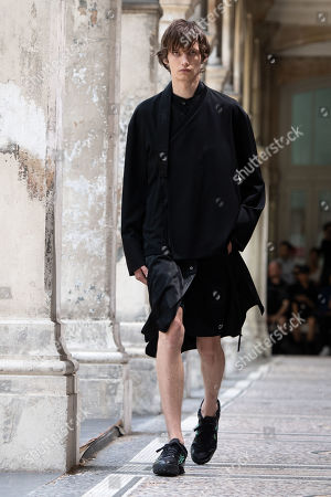 A model presents a creation from the Spring/Summer 2020 Men's collection by Japanese designer Masanori Morikawa for Christian Dada during the Paris Fashion Week, in Paris, France, 23 June 2019. The presentation of the Spring/Summer 2020 menswear collections runs from 18 to 23 June 2019.