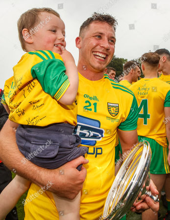 Cavan vs Donegal. Donegal's Paul Brennan celebrates with his son Tadhg