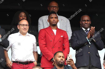 Former Cameroon striker Samuel Etoo in the stands