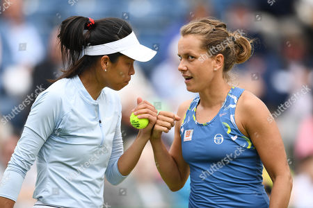 Su-Wei Hsieh of Chinese Taipei and Barbora Strycova of the Czech Republic during the Womens doubles final match against Anna-Lena Groenefeld of Germany and Demi Schuurs of the Netherlands.