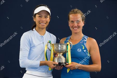 Su-Wei Hsieh of Chinese Taipei and Barbora Strycova of the Czech Republic pose with the trophy after winning the Womens doubles final match against Anna-Lena Groenefeld of Germany and Demi Schuurs of the Netherlands.