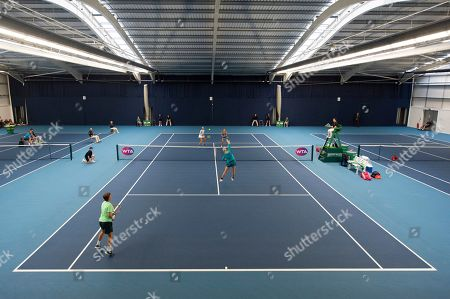 General view of Su-Wei Hsieh of Chinese Taipei and Barbora Strycova of the Czech Republic during the Womens doubles final match against Anna-Lena Groenefeld of Germany and Demi Schuurs of the Netherlands.
