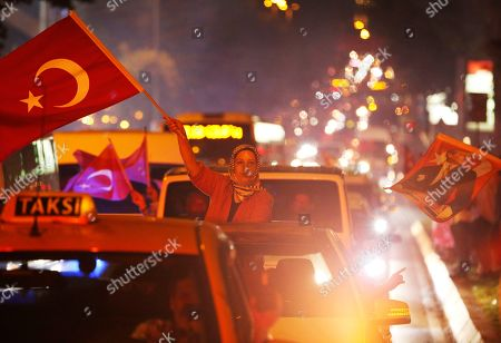 Supporters of Ekrem Imamoglu, the candidate of the secular opposition Republican People's Party, CHP, celebrate in central Istanbul, . In a blow to Turkish President Recep Tayyip Erdogan, Imamoglu declared victory in the Istanbul mayor's race for a second time Sunday after Binali Yildirim, the government-backed candidate conceded defeat in a high-stakes repeat election