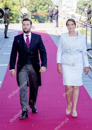 Prince Sebastien of Luxembourg and Princess Alexandra of Kent attend a service at the Notre-Dame Cathedrai in Luxembourg city