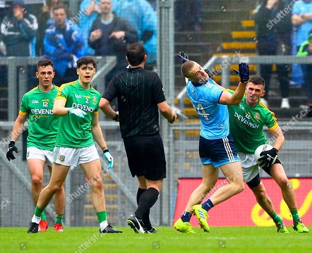 Stock Picture of Dublin vs Meath. Dublin's Paul Mannion is shoved by Meath's Shane McEntee