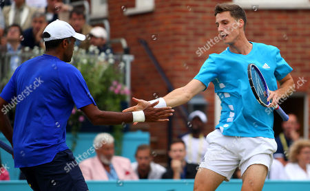 Joe Salisbury of Great Britain celebrates with Rajeev Ram of USA\