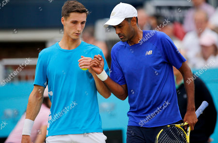 Joe Salisbury of GBR and Rajeev Ram of USA fist pump