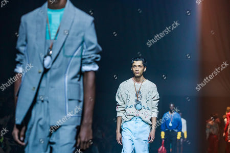 Models present creations from the Spring/Summer 2020 Men's and women's collection by Humberto Leon and Carol Lim for Kenzo during the Paris Fashion Week, in Paris, France, 23 June 2019. The presentation of the Spring/Summer 2020 menswear collections runs from 18 to 23 June.