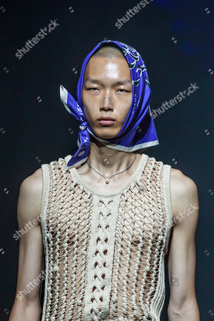 A model presents a creation from the Spring/Summer 2020 Men's and women's collection by Humberto Leon and Carol Lim for Kenzo during the Paris Fashion Week, in Paris, France, 23 June 2019. The presentation of the Spring/Summer 2020 menswear collections runs from 18 to 23 June.