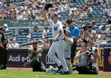 Former New York Yankee David Cone is introduced during Old Timer's Day at Yankee Stadium, in New York
