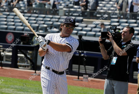 Former New York Yankee Johnny Damon during Old Timer's Day at Yankee Stadium, in New York
