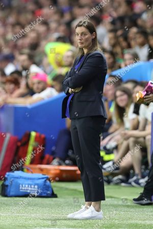 France coach Corinne Diacre attends the Women's World Cup round of 16 soccer match between France and Brazil at the Oceane stadium in Le Havre, France