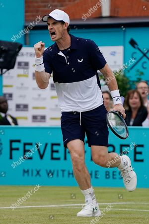 Britain's Andy Murray during his mens doubles final match with Feliciano Lopez of Spain against Britain's Joe Salisbury and Rajeev Ram at the Fever Tree Championship at Queen's Club in London, Britain, 23 June 2019. The tournament runs from 17th June till 23 June 2019.