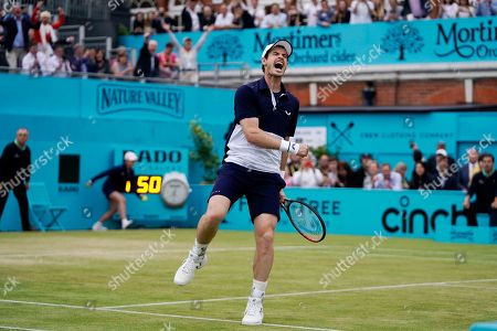 Britain's Andy Murray celebrates after winning his mens doubles final match with Feliciano Lopez of Spain against Britain's Joe Salisbury and Rajeev Ram at the Fever Tree Championship at Queen's Club in London, Britain, 23 June 2019. The tournament runs from 17th June till 23 June 2019.