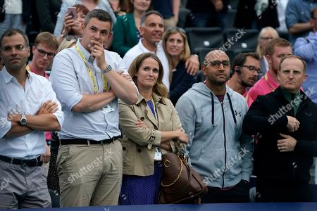 Kim Sears (C) wife of Britain's Andy Murray watches as he lifts the championship trophy with Spain's Feliciano Lopez  after winning their mens doubles final against Britain's Joe Salisbury and USA's Rajeev Ram at the Fever Tree Championship at Queen's Club in London, Britain, 23 June 2019.