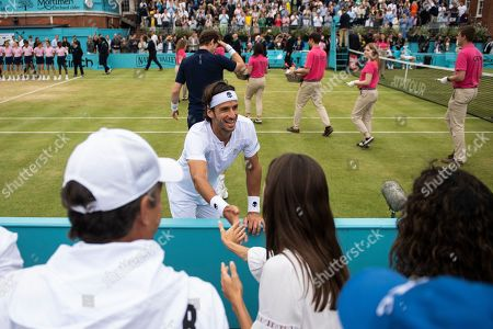 Spain's Feliciano Lopez of Spain celebrates after winning his  mens doubles final with Britain's Andy Murray against Britain's Joe Salisbury and Rajeev Ram at the Fever Tree Championship at Queen's Club in London, Britain, 23 June 2019.