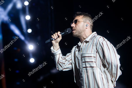 Stock Image of Silvano Albanese in concert at Radio Deejay party