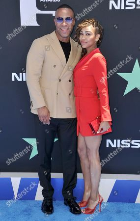 DeVon Franklin, Meagan Good. DeVon Franklin, left, Meagan Good arrive at the BET Awards, at the Microsoft Theater in Los Angeles