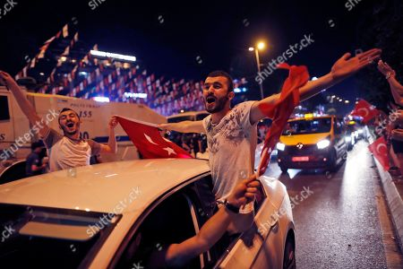 Stock Image of Supporters of Ekrem Imamoglu, the candidate of the secular opposition Republican People's Party, CHP, celebrate in central Istanbul, . In a blow to Turkish President Recep Tayyip Erdogan, Imamoglu declared victory in the Istanbul mayor's race for a second time Sunday after Binali Yildirim, the government-backed candidate conceded defeat in a high-stakes repeat election