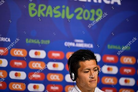Japan's national soccer team player Naomichi Ueda delivers a press conference at the Mineirao stadium, in Belo Horizonte, Brazil, 23 June 2019.