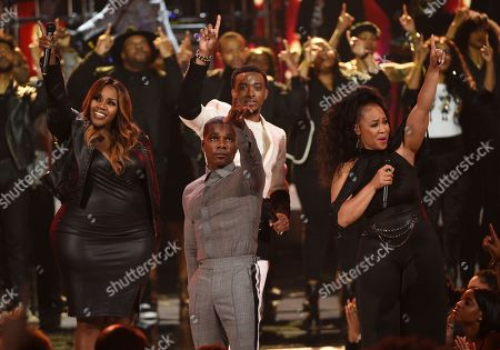 Stock Photo of Kelly Price, Kirk Franklin, Jonathan McReynolds, Erica Campbell. Kelly Price, from left, Kirk Franklin, Jonathan McReynolds, and Erica Campbell perform at the BET Awards, at the Microsoft Theater in Los Angeles