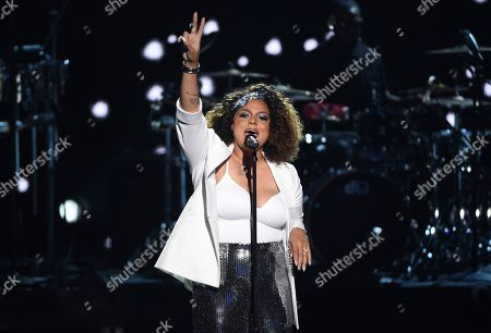Marsha Ambrosius performs during a tribute to late rapper Nipsey Hussle at the BET Awards, at the Microsoft Theater in Los Angeles