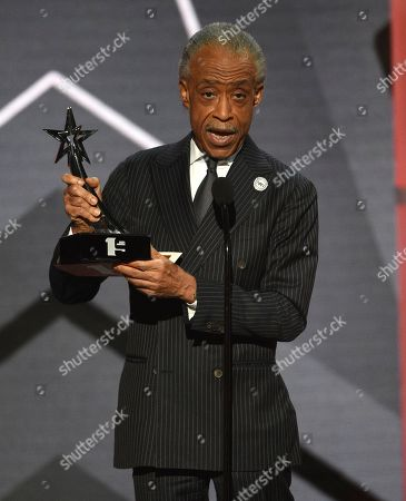 Stock Image of Reverend Al Sharpton presents the award for Dr. Bobby Jones best gospel/inspirational award at the BET Awards, at the Microsoft Theater in Los Angeles