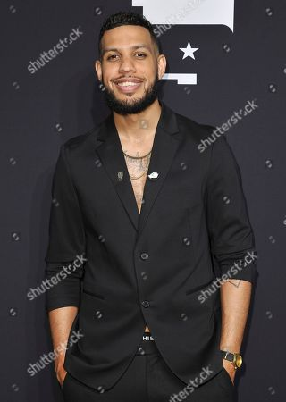 Sarunas Jackson poses in the press room at the BET Awards, at the Microsoft Theater in Los Angeles