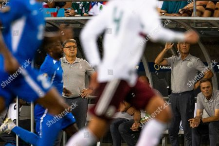 Mexico Head Coach Gerardo Martino watches his team in the first half of the Gold Cup match at Bank of America Stadium in Charlotte, NC. (Scott Kinser)