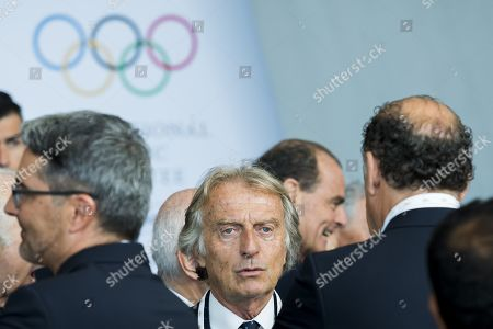 Alitalia President Luca cordero di Montezemolo (C) attends the first day of the 134th Session of the International Olympic Committee (IOC) at the SwissTech Convention Centre in Lausanne, Switzerland, Monday, June 24, 2019. The host city of the 2026 Olympic Winter Games will be decided during the134th IOC Session. Stockholm-Are in Sweden and Milan-Cortina in Italy are the two candidate cities for the Olympic Winter Games 2026.
