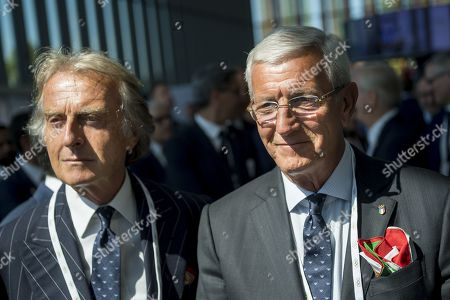 Alitalia President Luca cordero di Montezemolo (L) and former Italian soccer player and coach Marcello Lippi (R) attend the first day of the 134th Session of the International Olympic Committee (IOC) at the SwissTech Convention Centre in Lausanne, Switzerland, Monday, June 24, 2019. The host city of the 2026 Olympic Winter Games will be decided during the134th IOC Session. Stockholm-Are in Sweden and Milan-Cortina in Italy are the two candidate cities for the Olympic Winter Games 2026.