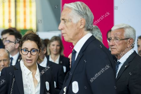 Italian skier Sofia Goggia (L) attends the first day of the 134th Session of the International Olympic Committee (IOC) at the SwissTech Convention Centre in Lausanne, Switzerland, Monday, June 24, 2019. The host city of the 2026 Olympic Winter Games will be decided during the134th IOC Session. Stockholm-Are in Sweden and Milan-Cortina in Italy are the two candidate cities for the Olympic Winter Games 2026.
