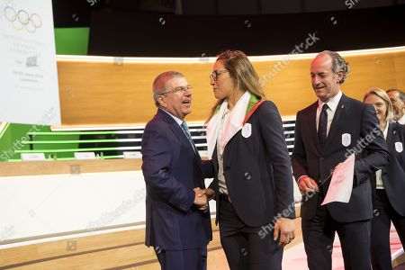 International Olympic Committee (IOC) President Thomas Bach from Germany, shakes hands with Italian skier Sofia Goggia during the first day of the 134th Session of the International Olympic Committee (IOC), at the SwissTech Convention Centre, in Lausanne, Switzerland, 24 June 2019. The host city of the 2026 Olympic Winter Games will be decided during the134th IOC Session. Stockholm-Are in Sweden and Milan-Cortina in Italy are the two candidate cities for the Olympic Winter Games 2026.