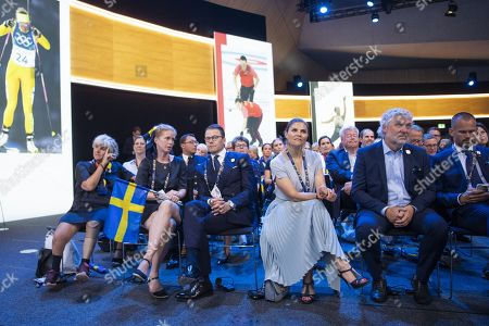 Members of the candidate for the Olympic Winter Games 2026 Stockholm-Are delegation, with (L-R) Asa Llinares Norlin, President of the Swedish Paralympic Committee, Anna Koenig Jerlmyr, Mayor of Stockholm, Prince Daniel, Crown Princess Victoria, Ice Hockey legend Peter Fosberg react, as International Olympic Committee (IOC) president Thomas Bach from Germany announces that Milan-Cortina has won the bid to host the 2026 Winter Olympic Games during the first day of the 134th Session of the International Olympic Committee (IOC), at the SwissTech Convention Centre, in Lausanne, Switzerland, 24 June 2019.