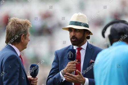 Stock Image of Athar Ali with Mark Nicholas presenting at the interval between innings during Bangladesh vs Afghanistan, ICC World Cup Cricket at the Hampshire Bowl on 24th June 2019