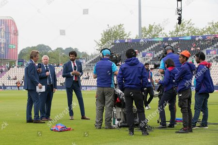 Mark Nicholas, Ian Smith & Athar Ali presenting before the fixture between Bangladesh vs Afghanistan, ICC World Cup Cricket at the Hampshire Bowl on 24th June 2019