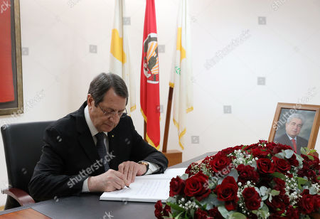 Cypriot President Nicos Anastasiades signs the condolence book for late former Cyprus President Demetris Christofias in Nicosia, Cyprus, 24 June 2019. Christofias died 21 June and his funeral will take place on 25 June. Demetris Christofias was the sixth President of the Republic of Cyprus. He was elected President on 24 February 2008, and performed his duties until 28 February 2013.