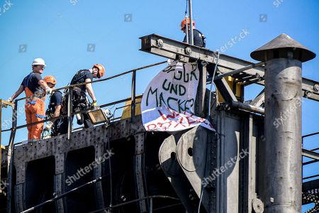 Climate change activists protest at a coal mine, Kerpen