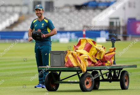 Australia's former player Ricky Ponting laughs on the pitch during a training session at Lord's cricket ground in London, . England will play Australia in a World Cup cricket match at Lord's on Tuesday
