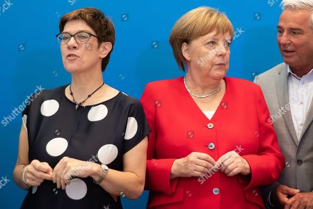 (L-R) German Christian Democratic Union (CDU) party chairwoman Annegret Kramp- Karrenbauer, German Chancellor Angela Merkel and vice-chairman Thomas Strobl, during a board meeting at the CDU's headquarters in Berlin, Germany, 24 June 2019.