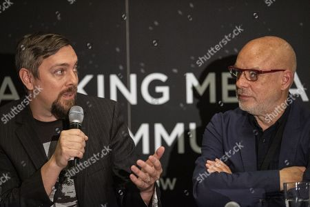 Director and producer of US documentary 'Apollo 11', Todd Douglas Miller (L) and British musician and artist Brian Eno attend a panel discussion with Apollo astronauts during a press conference of the Starmus Festival in Zurich, Switzerland, 24 June 2019. The 2019 Starmus Festival celebrates mankind's first step on the Moon, coinciding with the 50th anniversary of this event in human history.