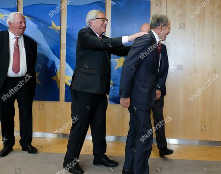 (L-R) EU Commission President and Former President Jacques Santer, Jean-Claude Juncker and Romano Prodi during a visit at the European Commission, in Brussels, Belgium, 24 June 2019.