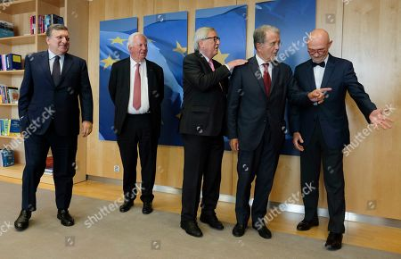 Stock Image of (L-R) The EU Commission President and Former President Jose Manuel Barroso, Jacques Santer, Jean-Claude Juncker,  Romano Prodi and World Trade Organization Director General Pascal Lamy, pose for a photo during a visit at the European Commission, in Brussels, Belgium, 24 June 2019.