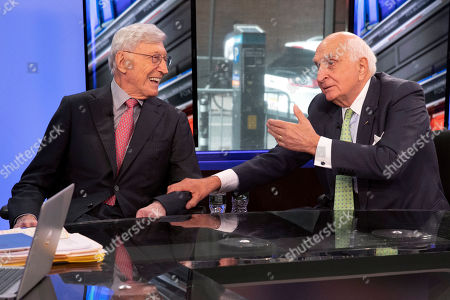 """Stock Picture of Bernie Marcus, Ken Langone. Home Depot co-founders Bernie Marcus, left, and Ken Langone, talk during their appearance on """"Cavuto: Coast to Coast,"""" with anchor Neil Cavuto, on the Fox Business Network, in New York,. The home improvement store chain is celebrating the 40th anniversary of its founding"""