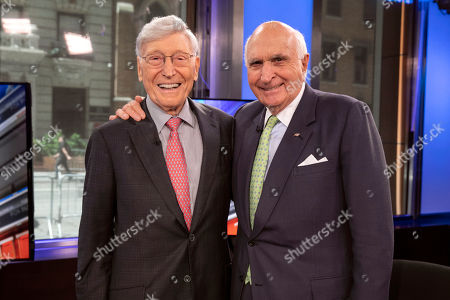 """Bernie Marcus, Ken Langone. Home Depot co-founders Bernie Marcus, left, and Ken Langone, pose for photos after their appearance on """"Cavuto: Coast to Coast,"""" with anchor Neil Cavuto, on the Fox Business Network, in New York,. The home improvement store chain is celebrating the 40th anniversary of its founding"""